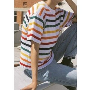 Brandy Melville rainbow striped Aleena tee